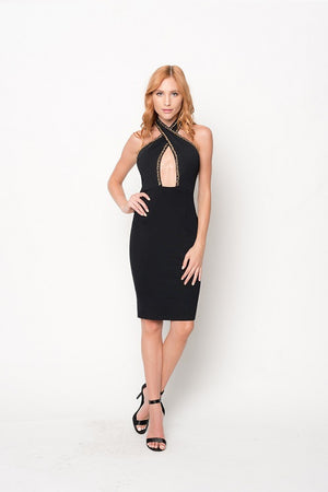 Twisted Halter Chain Mid Knit Dress | 2 Colors Available