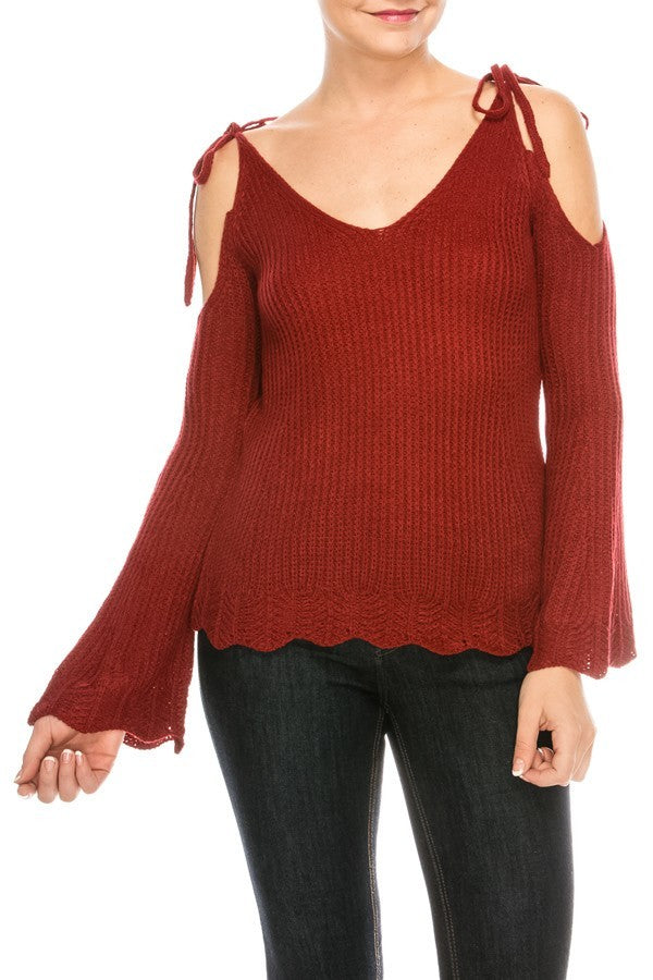 Knitted Cold Tie Shoulder Solid Sweater | 3 Colors Available