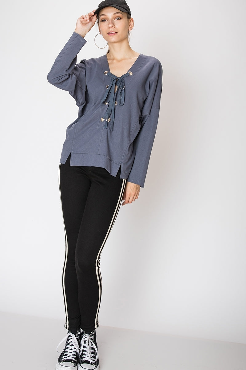 Lace Up Split Hem Grommet Sweatshirt | 4 Colors Available