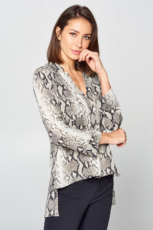 Long Sleeve Snake Print Top