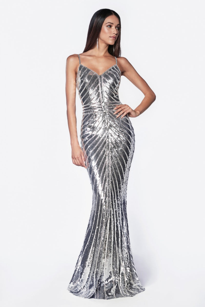 Fitted Gown w/ Metallic Sequined and Art Deco Beaded Details | 3 Colors
