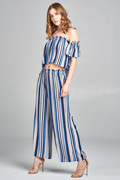 Color Stripe Rayon Palazzo Pants | 2 Colors