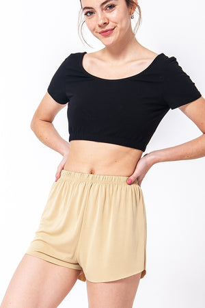 Elastic Waist Raw Cut Hem Shorts | 3 Colors