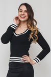 Ribbed Deep V-Neck Stripe Detail Long Sleeve Sweater