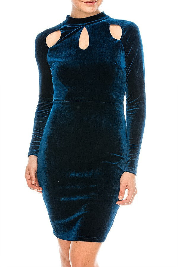 Velvet Bodycon Dress w/ Cutout Details | 4 Colors Available