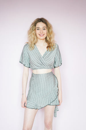 Striped Surplus Crop Top w/ Ruffle Wrap Mini Skirt Set | 2 Colors
