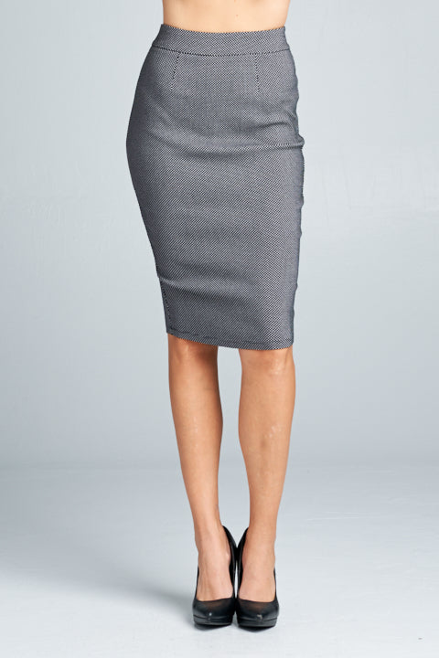 Woven Pencil Midi Skirt