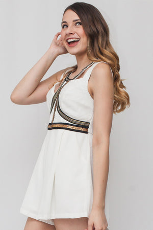 White Dress w/ Gold Sequins and Pockets