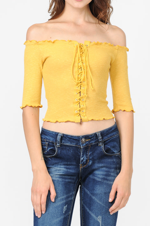 Off Shoulder Frill Detail Lace Up Grommet Crop Top