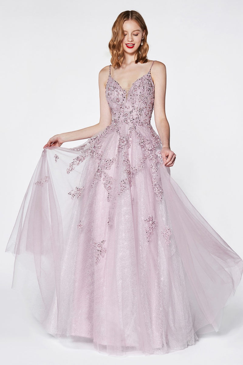 Beaded Flowy A-Line Tulle and Lace Dress w/ V-Neckline and Open Back