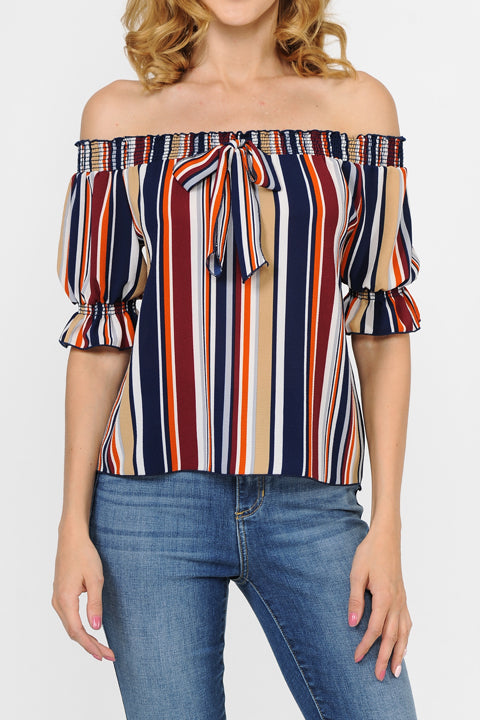 Off The Shoulder Color Block Stripe Top
