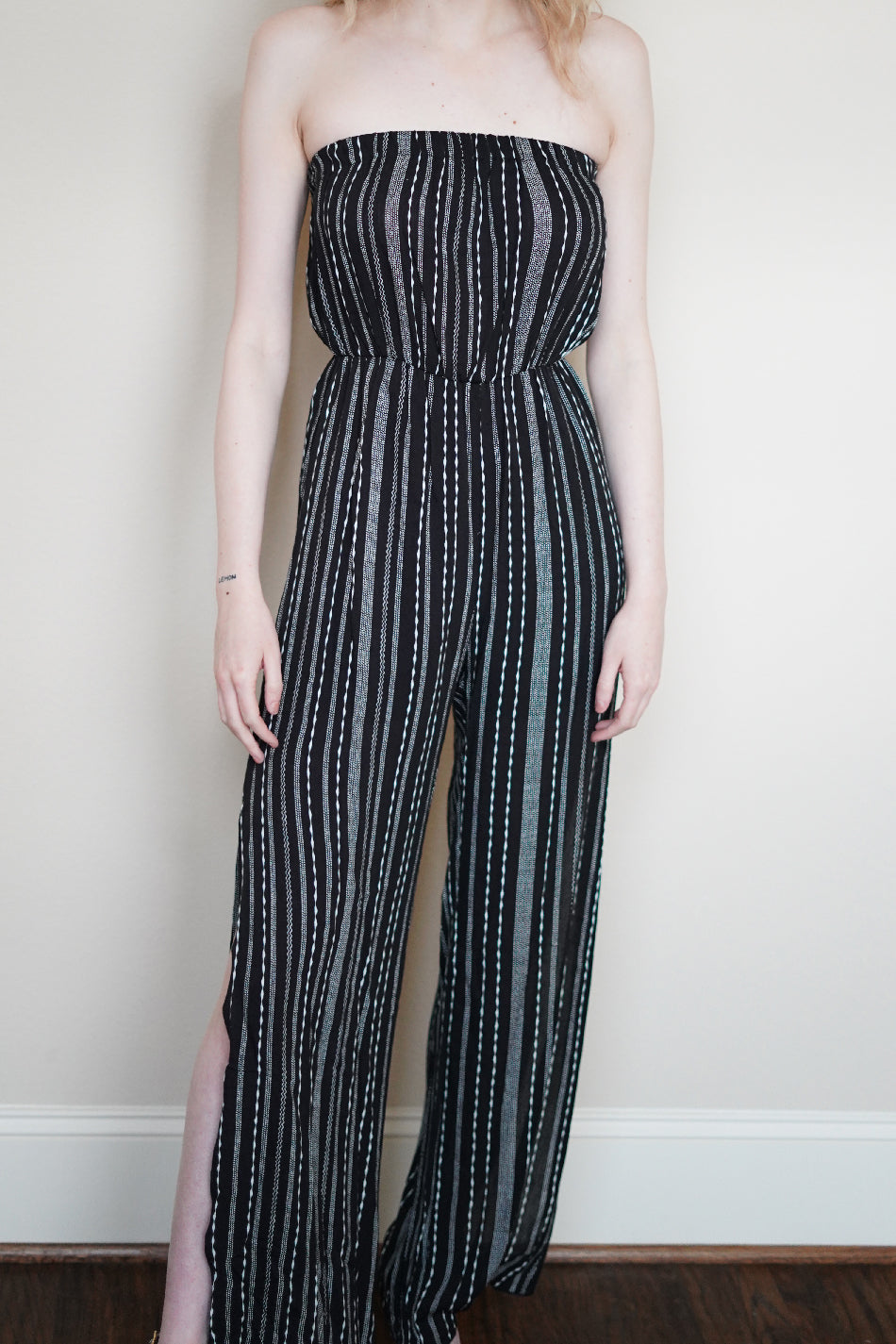 Ethnic Print Tube Top Side Slit Jumpsuit | 2 Colors