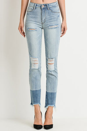 High Waist Shaded Hem Straight Jeans