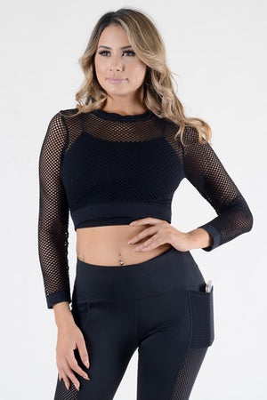 Women's Long Sleeve Fishnet Crop Top | 2 Colors
