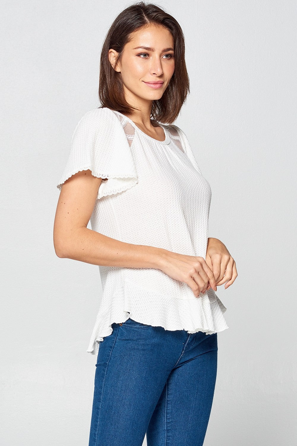 Short Sleeve Top w/ Mesh Detail | 2 Colors