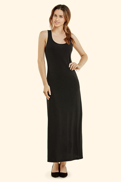 Racer Back Long Black Dress