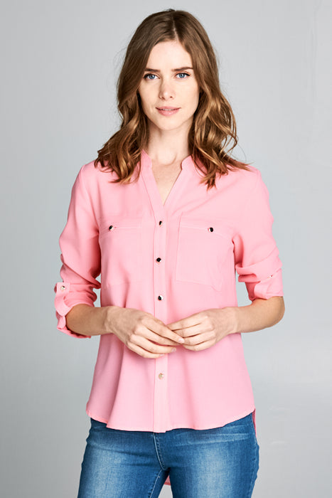 No Collar Roll Up Sleeves Button Up Chiffon Shirt | 4 Colors