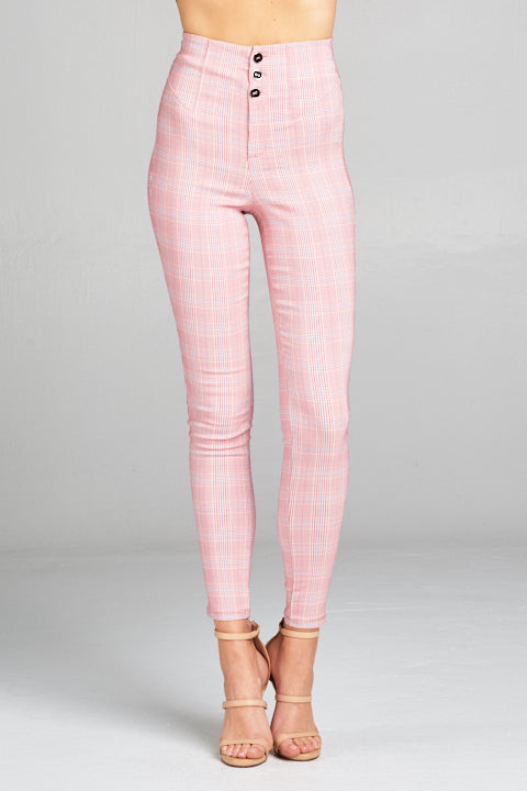 3 Button High Waist Plaid Pants | 2 Colors Available