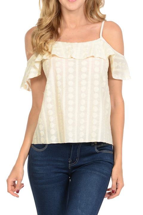 Cotton Embroidery Off Shoulder Ruffled Top | 2 Colors Available