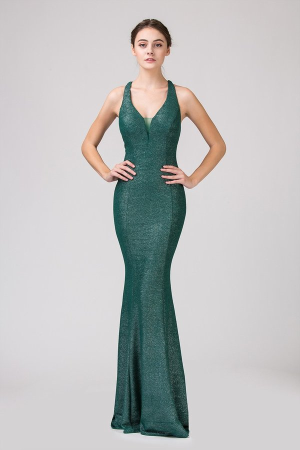 Jersey Shimmer Floor Length Mermaid Gown | 2 Colors