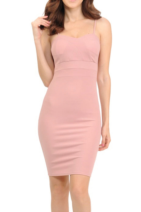 Scuba Crepe Cupped Detail Cami Dress | 2 Colors