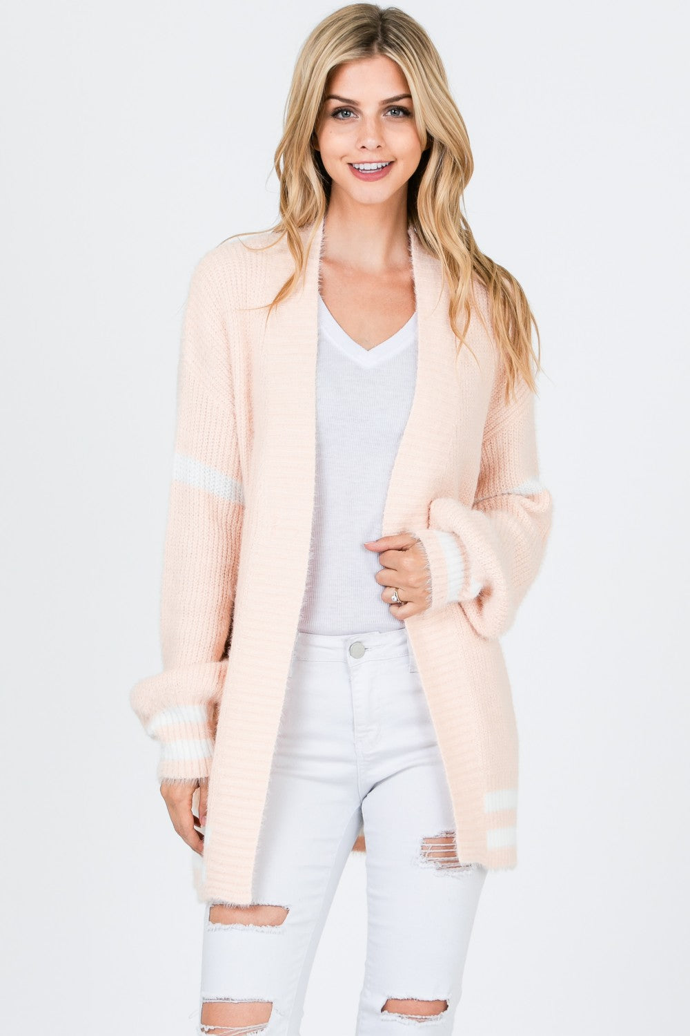 Wool Cardigan w/ Stripe Contrast | 2 Colors Available