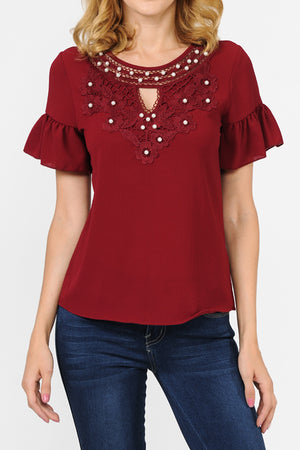 Pearl Embellishment Lace Detail Top