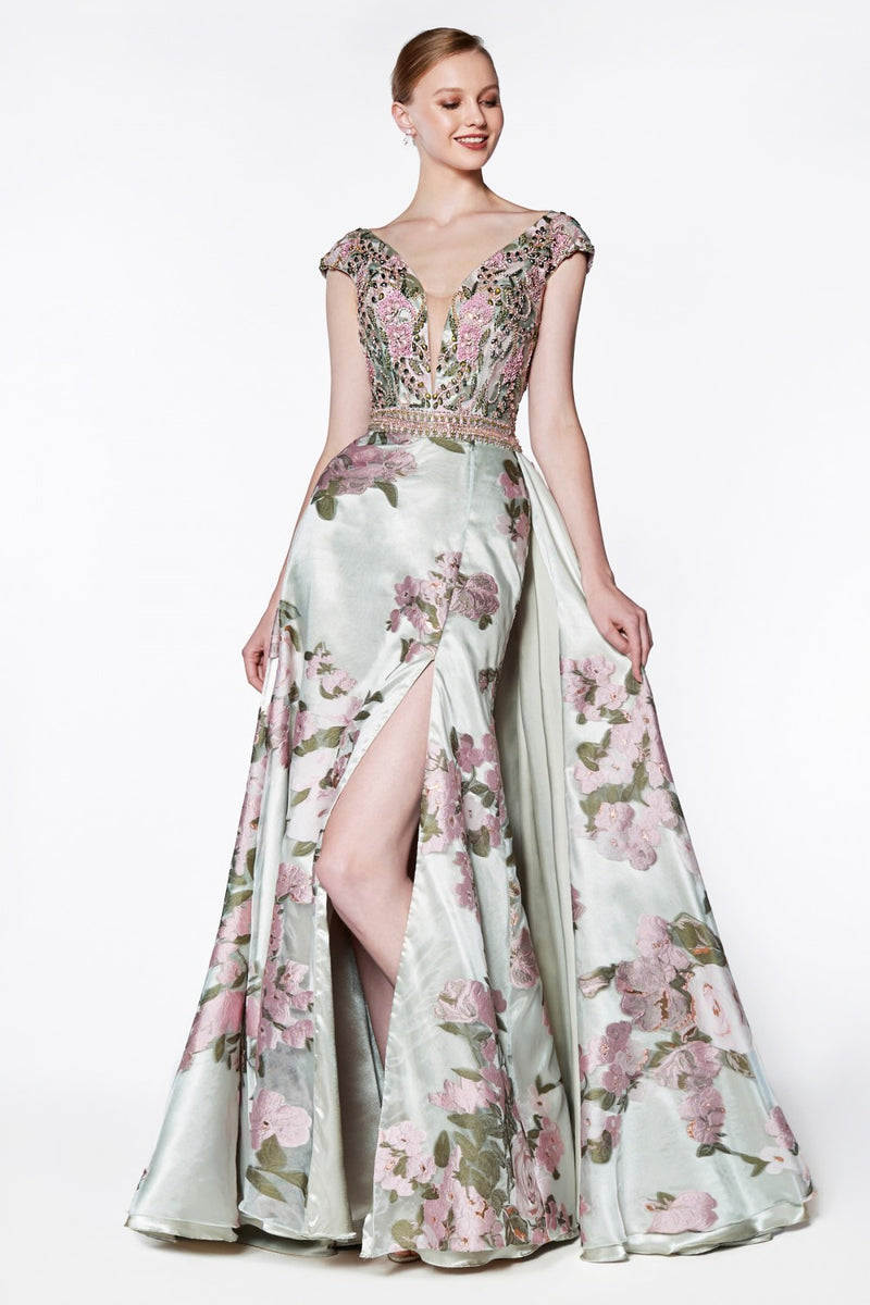Beaded Plunging V-Neck Gown w/ Slit and Flower Design