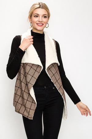 Plaid Faux Fur Waterfall Vest | 2 Colors Available