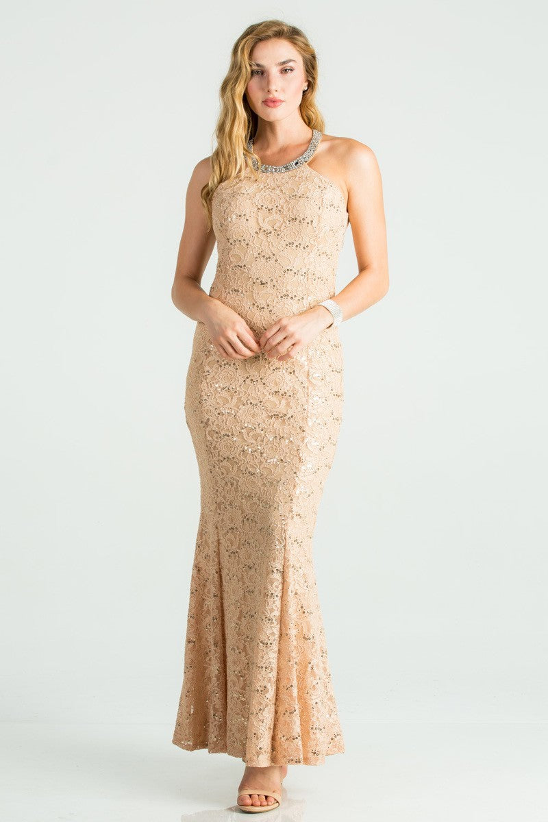 Embellished Neckline Lace Maxi Dress | 2 Colors Available