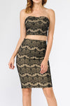 Scuba Lace Skirt and Top Set | 2 Colors Available