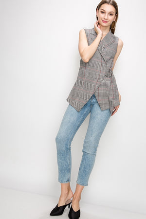 Plaid Wrap Vest