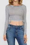 Stripe Long Sleeve Crop Top