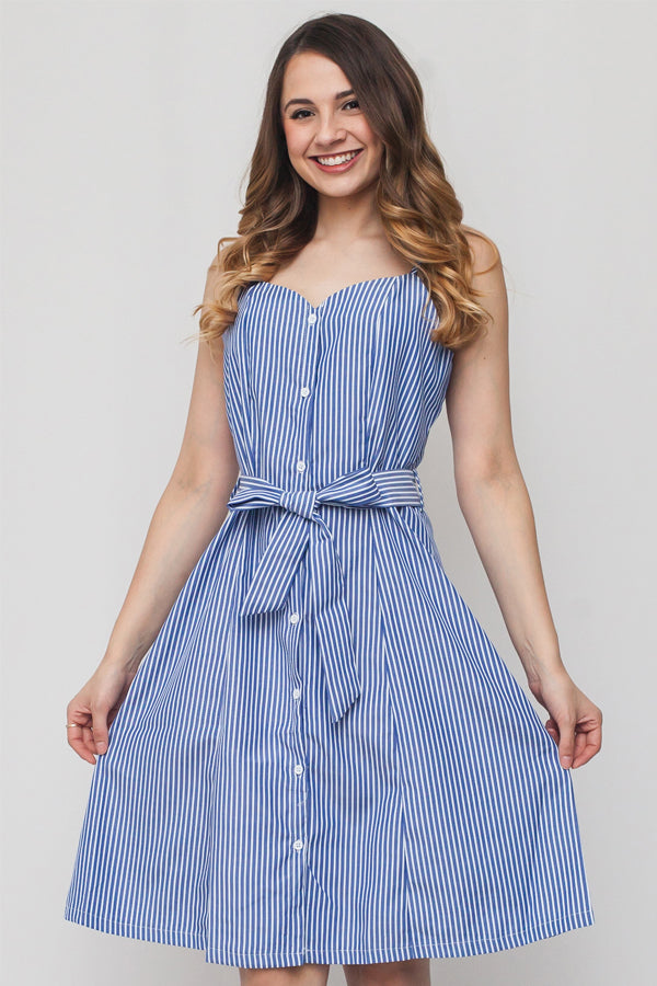 Flowy Striped Button Down Ribbon Dress