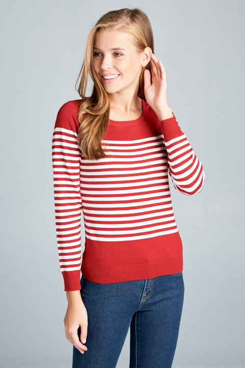 Round Neck Sweater Stripe Top