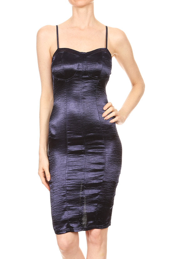 Crinkle Satin Cupped Cami Bodycon Dress | 2 Colors Available