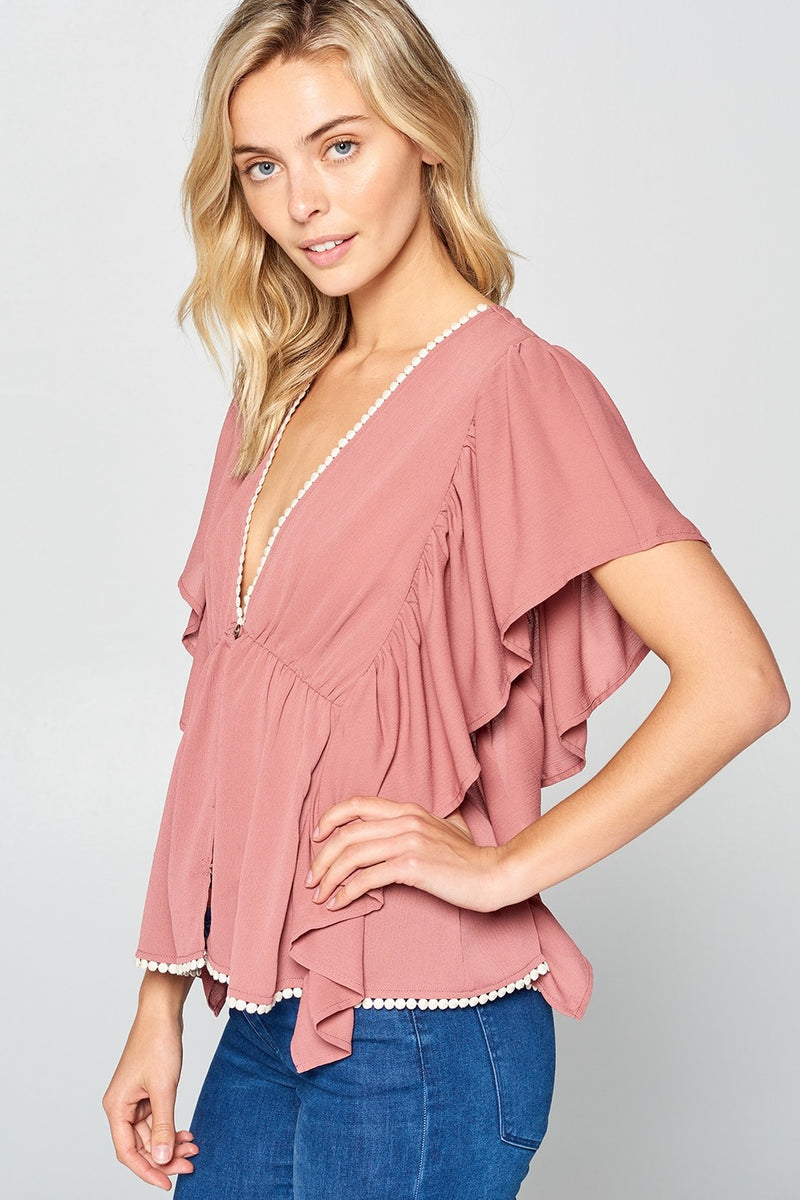 Solid V Neck Butterfly Sleeve Top | 2 Colors