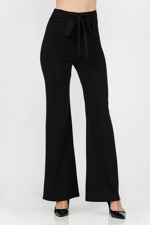 Wide Leg Front Tie Scuba Pants | 4 Colors Available