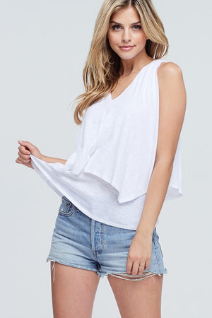 Double Layer Tie Neck SLeeveless Top
