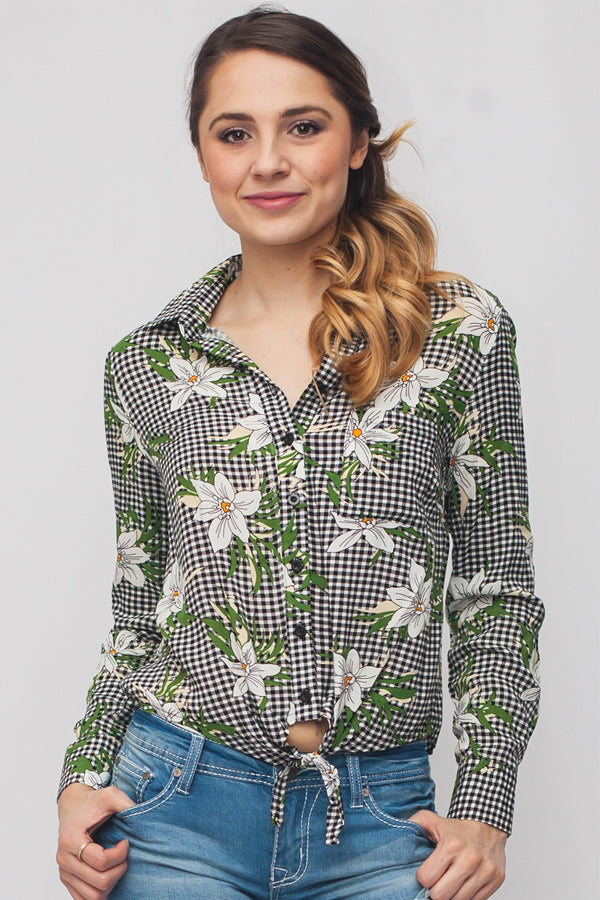 Checkered Flower Button Up