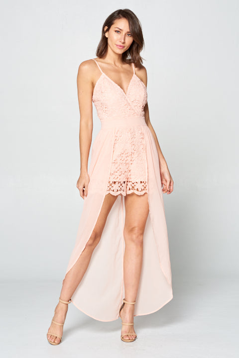 Short Lace Dress w/ Long Chiffon Overlay | 2 Colors