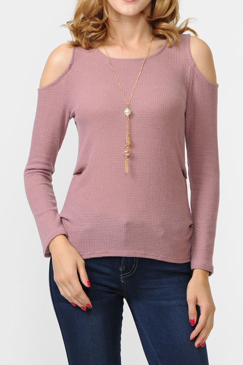Knit Cold Shoulder Long Sleeve w/ Necklace Top | 3 Colors Available