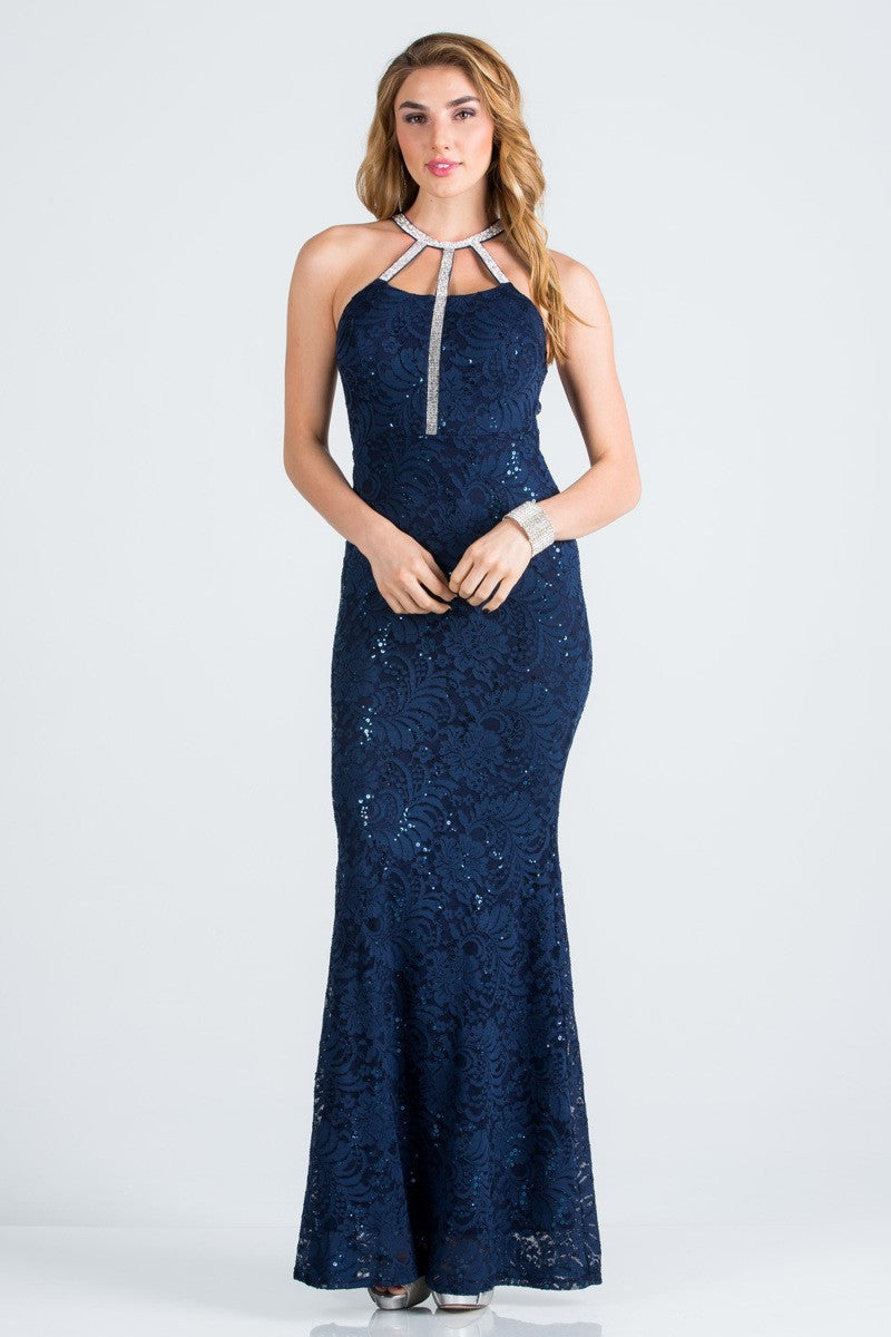 Embellished Neck Lace Mermaid Gown | 4 Colors Available