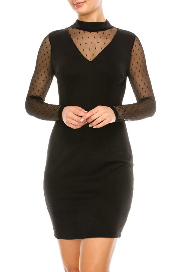 Solid V-Neckline Dotted Mesh Mini Lace Dress | 2 Colors Available