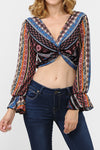 Boho Print Front Knot Crop Top  | 2 Colors Available