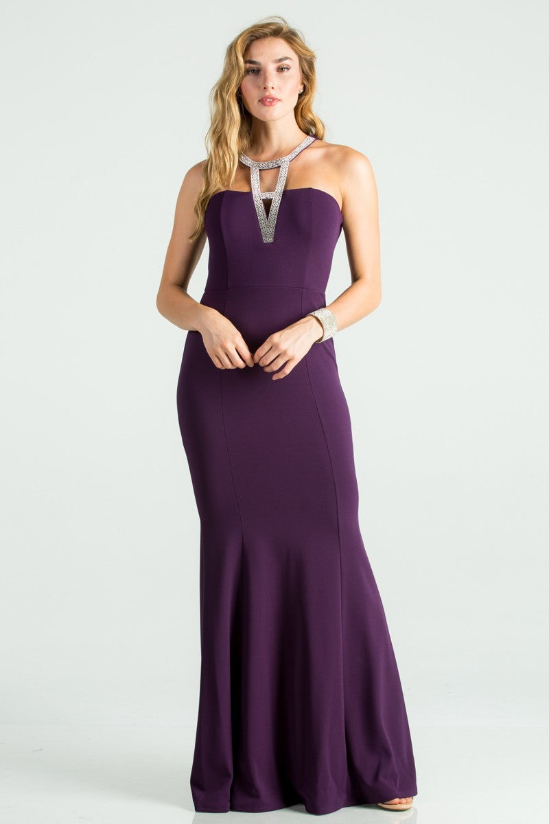 Embellished Neck Line Mermaid Crepe Dress | 4 Colors Available