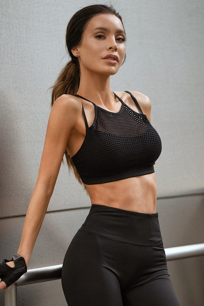 Women's High Neck Mesh Overlay Sports Bra | 2 Colors