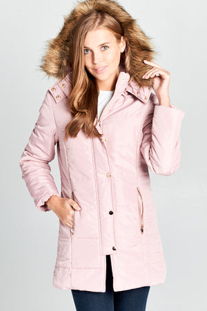 Padded Button-Down Jacket with Fur Hood | 3 Colors Available