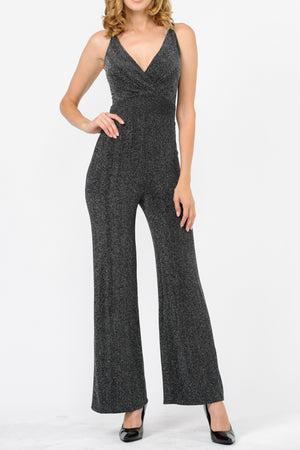 Harringbone V-Neck Strappy Back Jumpsuit