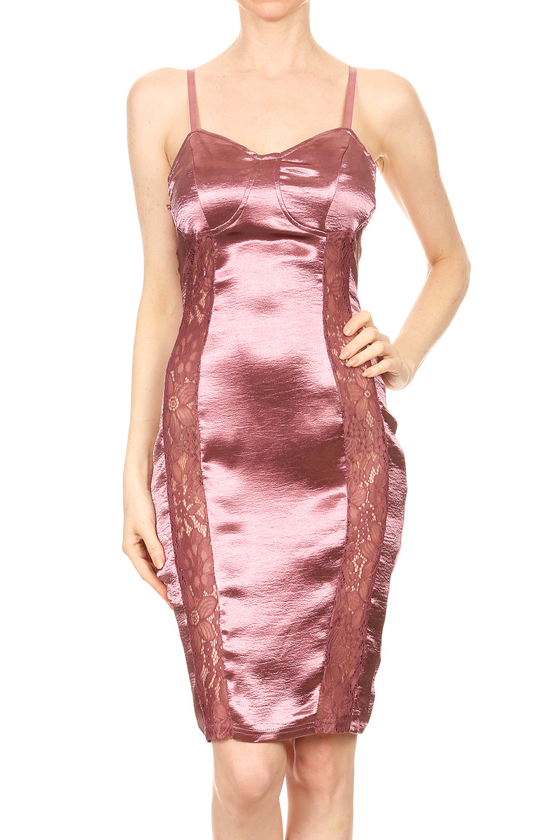 Crinkled Satin Double Side Lace Detail Bodycon Dress | 2 Colors Available